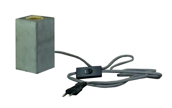 Lampe Zement 6x6x11cm E27 Kabel 1,5m + Schalter, grau