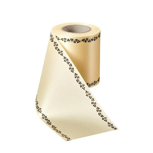 Kranzband 06739/150mm 25m Satin Efeurand schwarz, 015 sekt