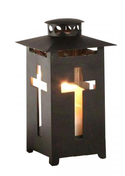 Laterne Metall 9x9x16cm m.Kreuz, schwarz