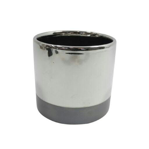 Kübel Keramik D16,5H15cm rund, silber