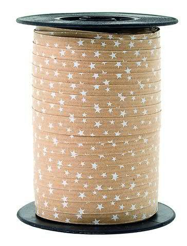 Polyband 8185/10mm 100m Sterne, braun/weiß