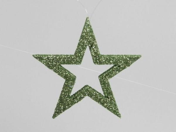 Stern 12cm 6St.Glitter, grün