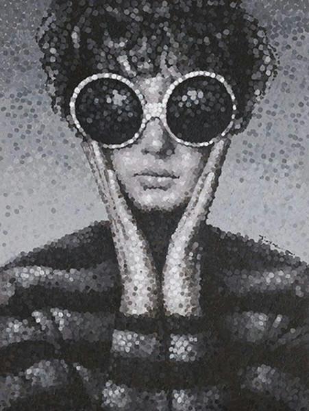 Bild Öl 90x120cm Frau mit Sonnenbrille