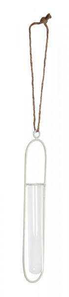 Reagenzglashalter Metall H15D3,5cm mit Glas, weiß