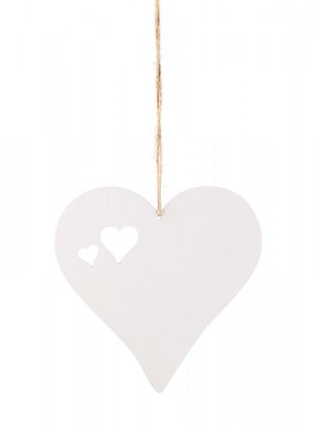 Herz Holz 15cm zum Hängen, weiß