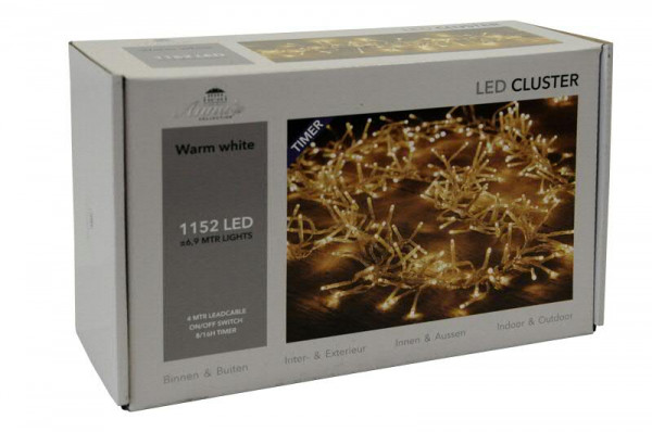 Clusterlights 1152LED 6,9m transparent mit Timer, outdoor ww
