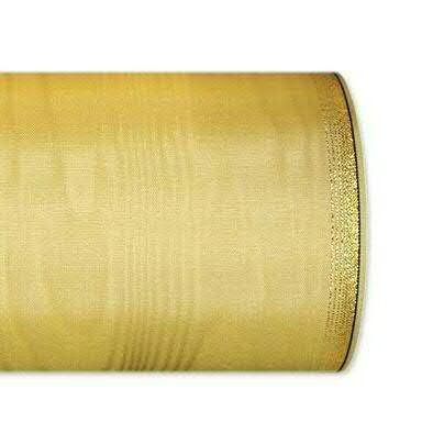 Kranzband 6694/100mm 25m Moire Goldrand, 679 beige