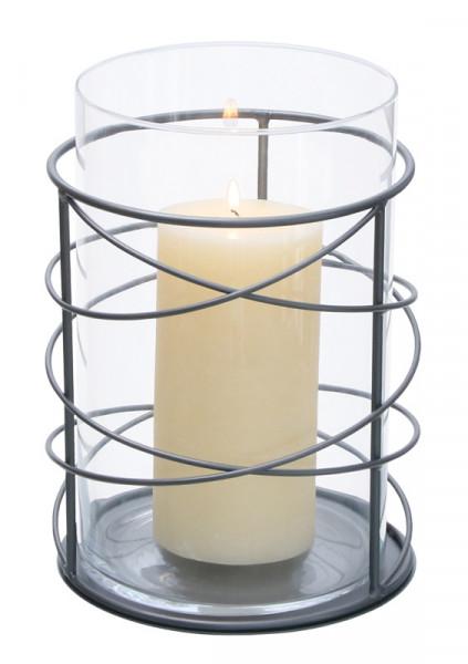 Windlicht Metall/Glas D22H25cm Glas D19H25cm, pulverbeschichtet, anthrazit