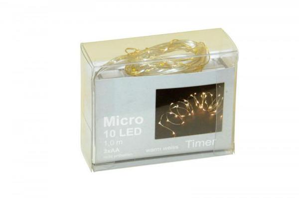 Microlichterkette 10LED 1m Timer für Batterie, 3xAA, indoor ww