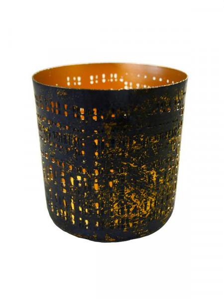 Windlicht Metall 2St. D8H8cm gewischt, gold/schw