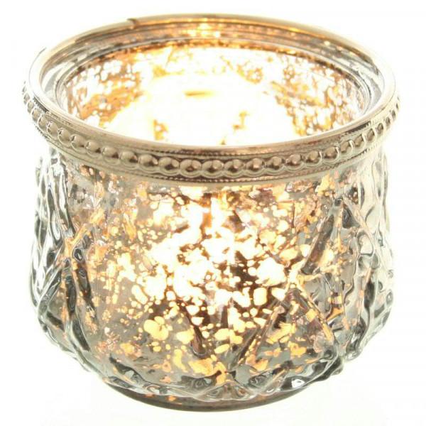 Glas Teelicht D7,5H6cm mit Metallrand, rauchgrau