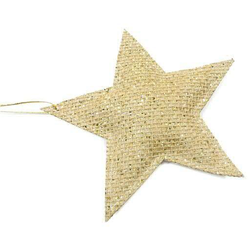 Stern Jute D18cm 4St. zum Hängen, gold