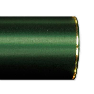 Kranzband 2501/125mm 25m Satin Goldrand, 748 d.grün