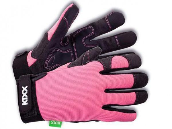 Handschuhe Gr.7 Synth.Leder, rosa/schw.