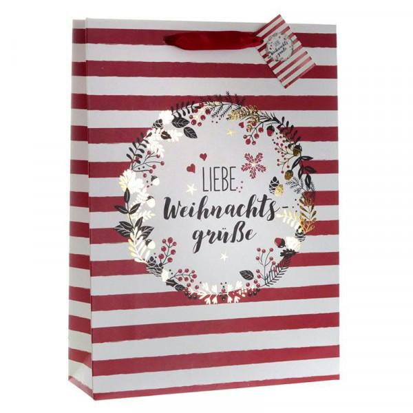Papiertüte 25x8,5x34,5cm Weihnachtsgrü, rot/weiß