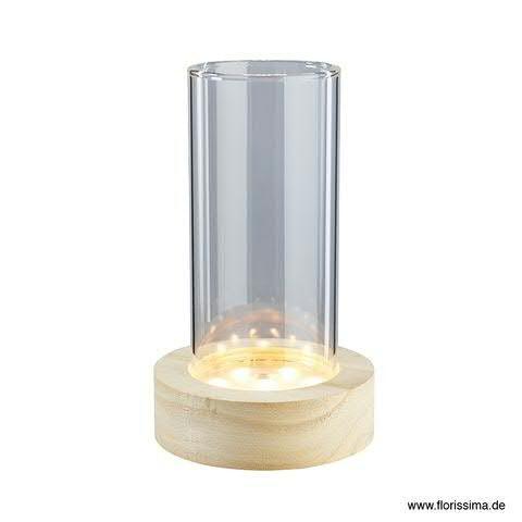 LED Vase D8,5H17,5cm im Holzstand mit Timer