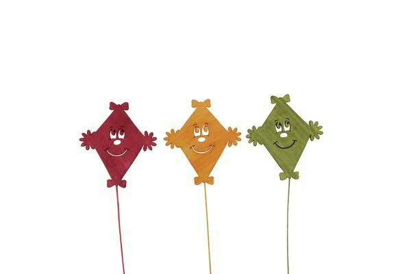 Drachen Holz 8x25cm am Stab rot/orange/grün, r/or/gn