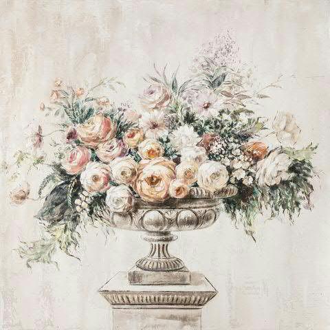 Bild Öl 100x100cm Vase Blumenstrauß