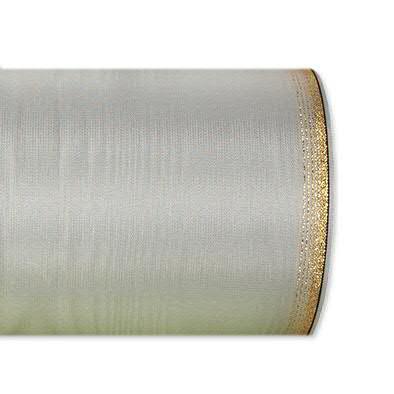 Kranzband 6694/100mm 25m Moire Goldrand, 621 grau
