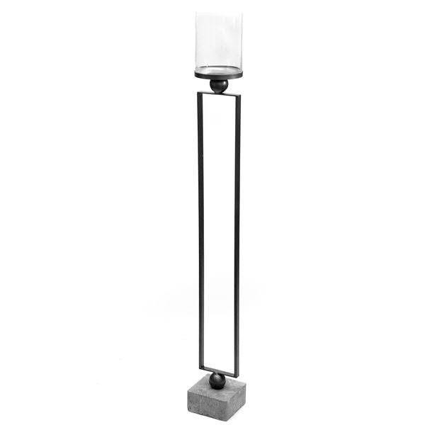 Windlicht Metall 16x16x138cm Betonfuß Glas D15H20cm, anthrazit