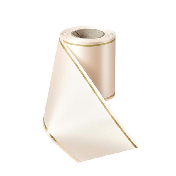Kranzband 06508/150mm 25m Satin Goldrand, 075 beige