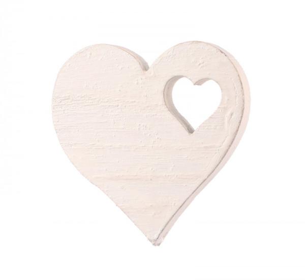 Herz Holz 10St.5cm, weiß