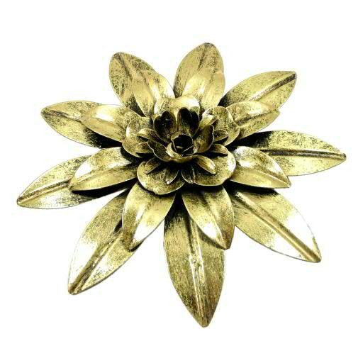 Blüte Metall D22cm für Wand, gold