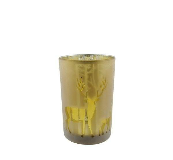 Glas Teelicht 12x18cm Rentier, gold