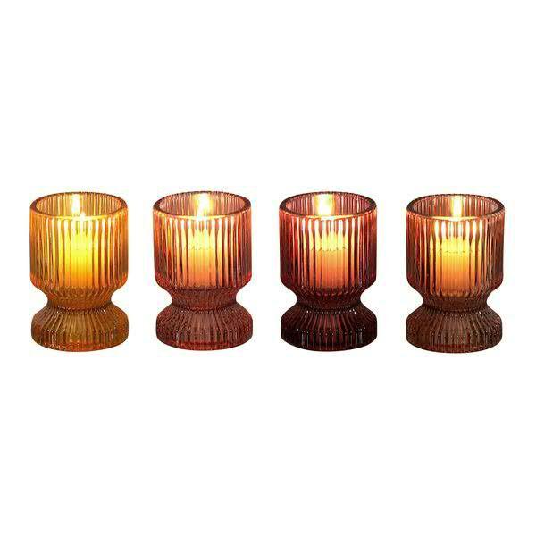 Glas Teelicht 8x6cm gelb/rot/orange/rose Monatsangebot, ge/or/r/rs