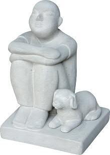 Figur m.Hund BT423 H30cm sitzend, cement
