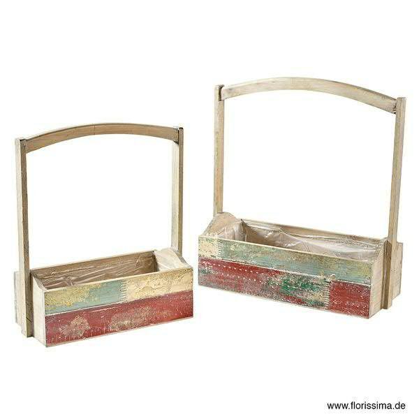 Kiste Holz SP S/2 32x14x12cm m.Folie 40x18x13cm, mit Griff, natur