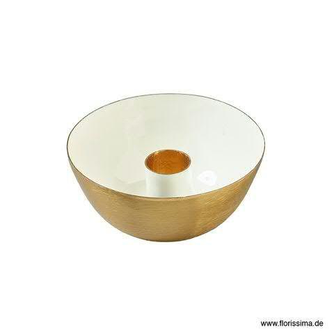 Kerzenhalter Schale Metall D10H4cm, weiß