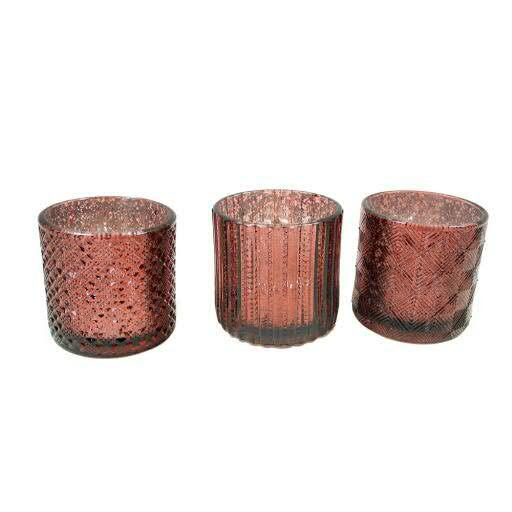 Glas Teelicht D7H7cm sortiert, burgund