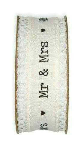 Band 24031/40mm 5m Mr & Mrs, weiß/schwa