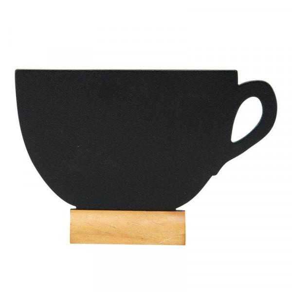 Tischkreidetafel Tasse 32,3x27x7,5cm mit Holzfuß +1 Kreidestift, schwarz