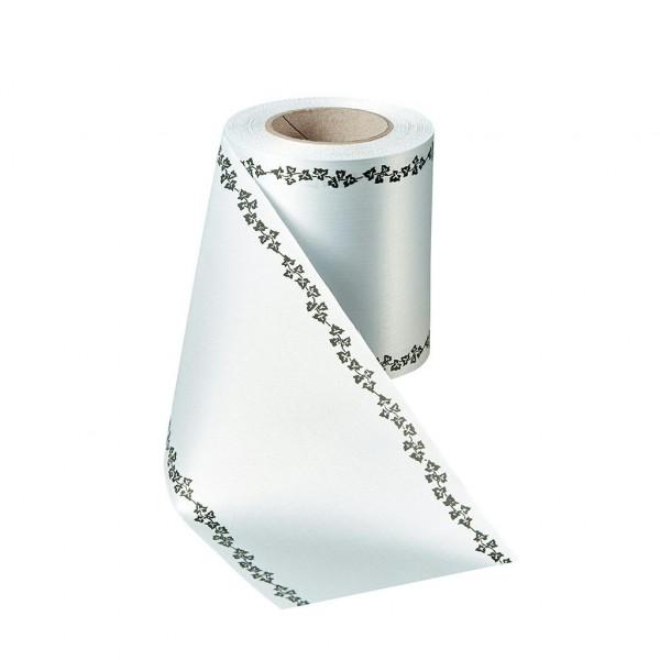Kranzband 06739/200mm 25m Satin Efeurand schwarz, 022 hellgr