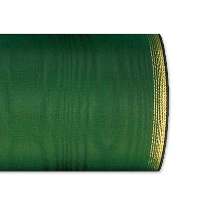 Kranzband 6694/125mm 25m Moire Goldrand, 657 grün