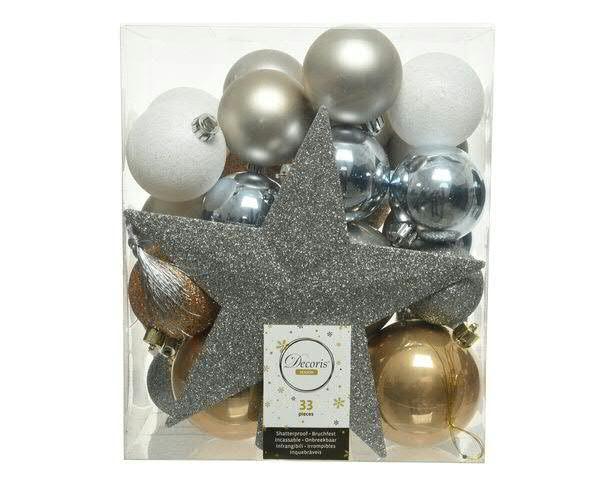 Weihnachtskugelmix 33St. mit Stern Kunststoff 4x8cm/18x6cm/7x5cm+3xDeko, silber mix