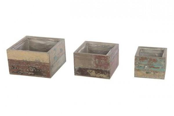 Kasten Holz S/3 20x20/16x16/13x13cm mit Plastik, antik