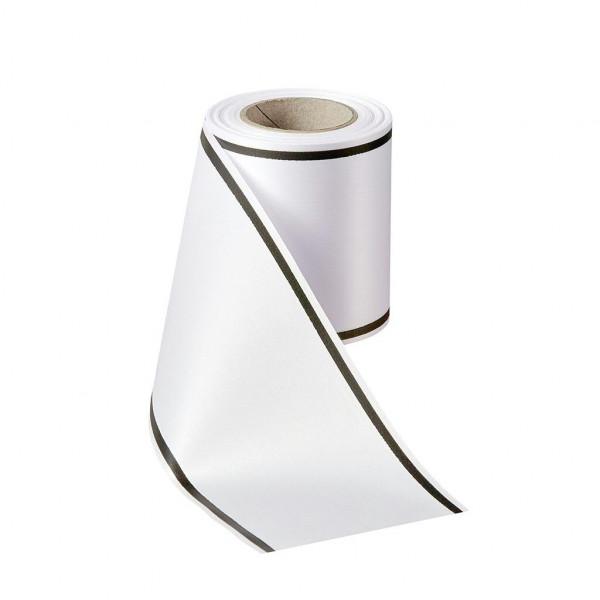 Kranzband 05509/200mm 25m Satin Rand schwarz, 001 wß/sch
