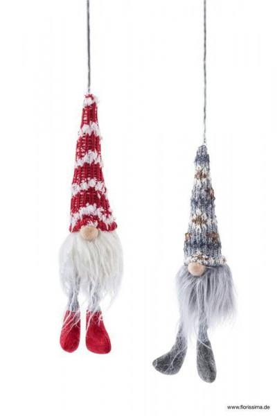 Wichtel Stoff Strick 20cm 2st Sortiert An Feder Zum Hangen Rot Grau