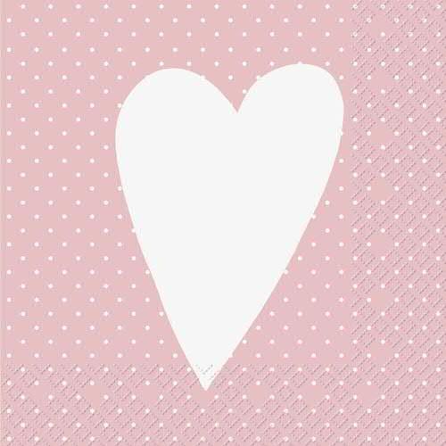Servietten Herz 33x33cm, rosa