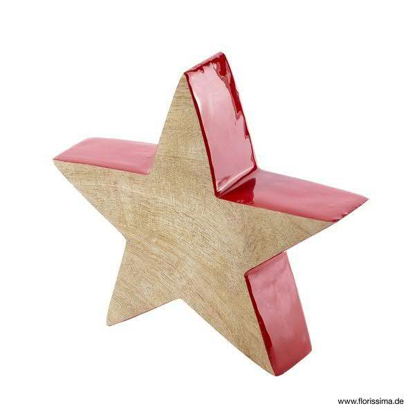 Stern Holz 4x12cm 3Stück, rot/natur