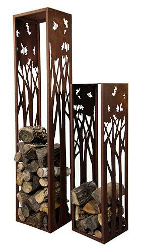 Rost Säule m.Baummotiv 33x33x180cm Holzstapler