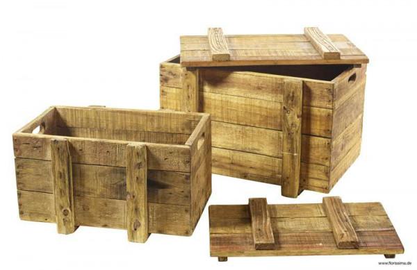 Kiste Holz S/2 SP 43x30x27+50x37x36cm, natur