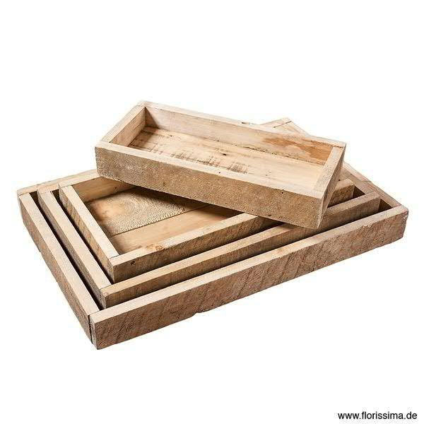 Tablett Holz S/4 55x35x6cm, natur