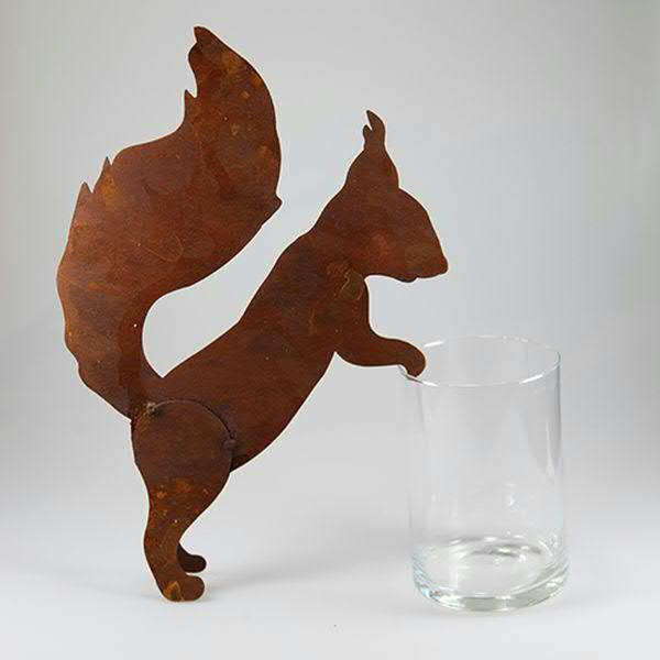 Klocke Deko rost eichhörnchen 35cm für topf 15cm tiere rost rost