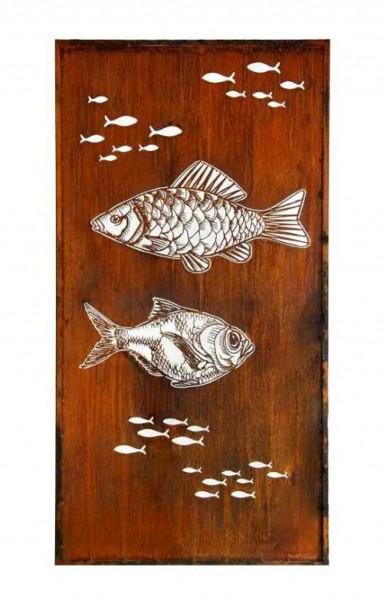 Rost Paravent 100x200cm Fisch