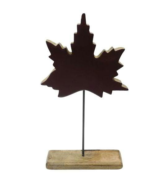 Ahornblatt Holz 22x40cm auf Stand, lila/natur