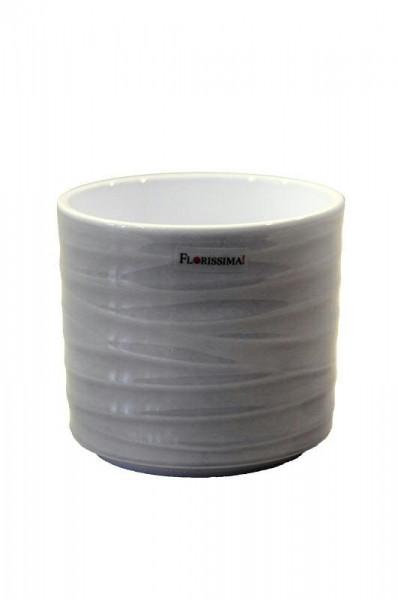 Kübel Keramik 993/12cm Wave, Lasur grau